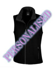 NRG WOMENS SOFTSHELL BODYWARMER WITH EMBROIDERED LOGO & PERSONALISED